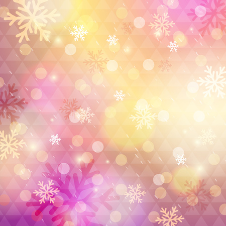 Bright pink background with bokeh and snowflakes, vector illustration