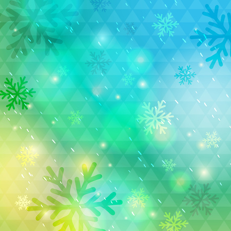 Bright green background with bokeh and snowflakes, vector illustration