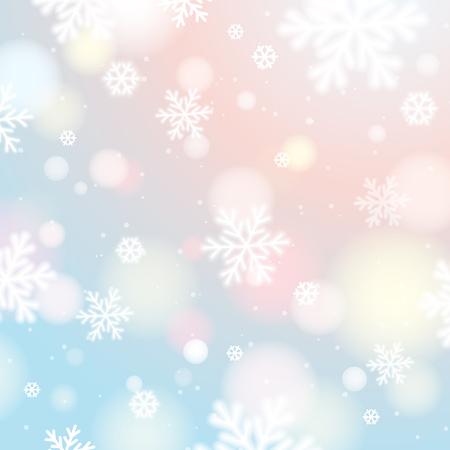 Lichte achtergrond met bokeh en wazig sneeuwvlokken, vector illustratie