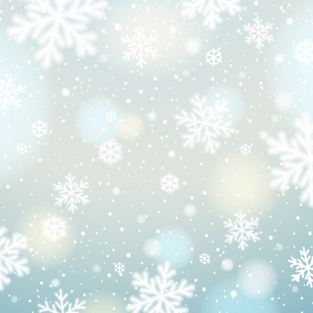 christams: Light background with bokeh and blurred snowflakes, vector illustration