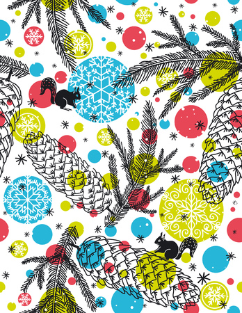 alder: background with christmas elements suitable for wrapping paper,  vector illustration Illustration