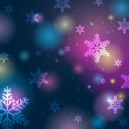 lustre: Bright blue background with bokeh and snowflakes, vector illustration