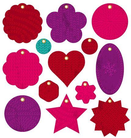 patrones de flores: etiquetas rojas de la Navidad de la vendimia con la textura de la puntada, ilustraci�n vectorial