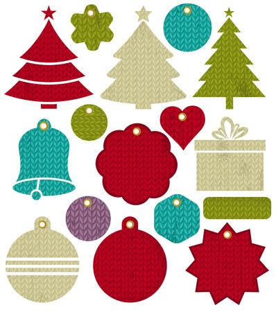 New Year: Vintage Christmas etykiety, ilustracji wektorowych wzór ściegu