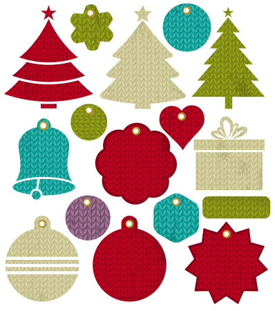 new year background: Vintage christmas labels with pattern of stitch, vector illustration