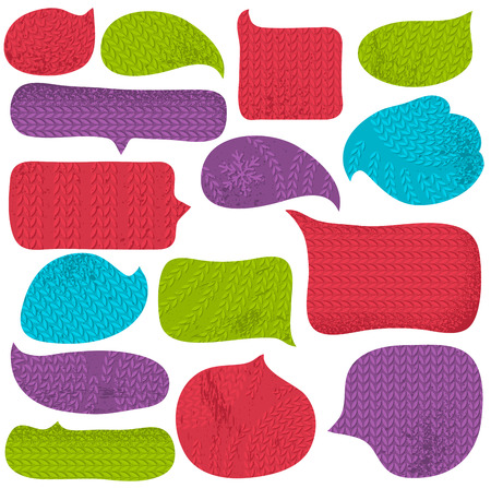 fabrick: Set of special colour  bubble with knitwear texture, vector
