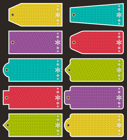 fabrick: Set of special colour paper labels for christmas, vector illustration