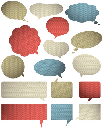knitwear: Set of special colour  bubble with knitwear texture, vector illustration