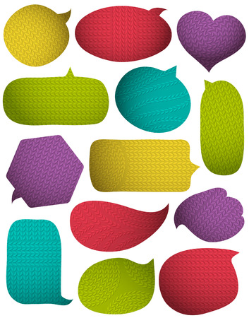 fabrick: Set of special colour bright bubbles with knitwear texture, vector illustration