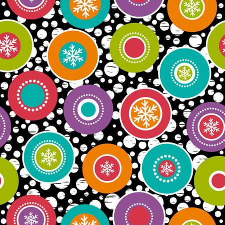 circle design: Seamless background with snowflakes and colour rings, vector illustration Illustration