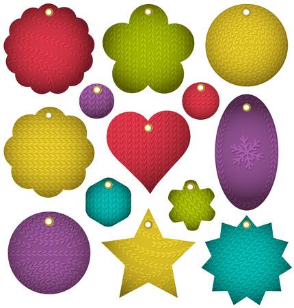 patrones de flores: Conjunto de etiquetas con textura de g�neros de punto, ilustraci�n vectorial Vectores