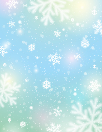 Light background with bokeh and blurred snowflakes, vector illustration