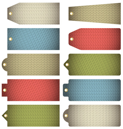 fabrick: Set of colour  label with knitwear texture, vector illustration