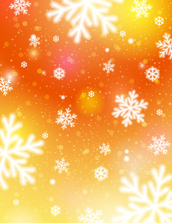 Golden background with bokeh and blurred snowflakes, vector illustration