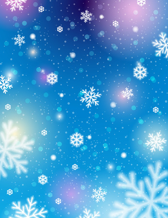 lustre: Blue background with bokeh and blurred snowflakes, vector illustration Illustration
