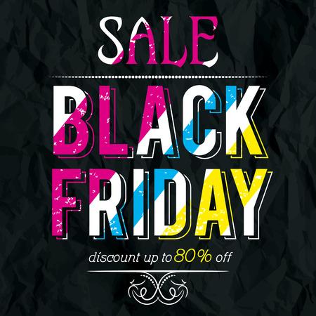 crumple: Black friday sale banner on crumple paper, vector illustration