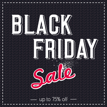 fabrick: Black friday sale banner on  knitwear background, vector illustration Illustration