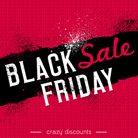 fabrick: Black friday sale banner on red knitwear background, vector illustration