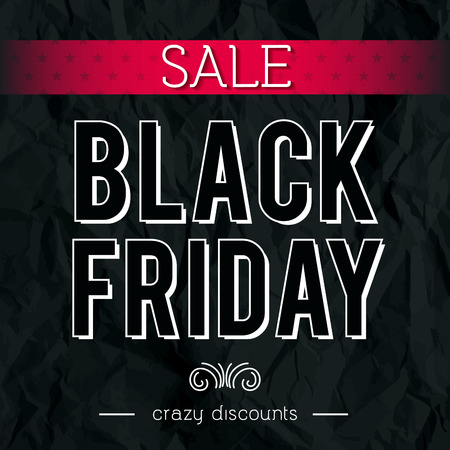 crumple: Black friday sale banner on crumple paper, vector illustration