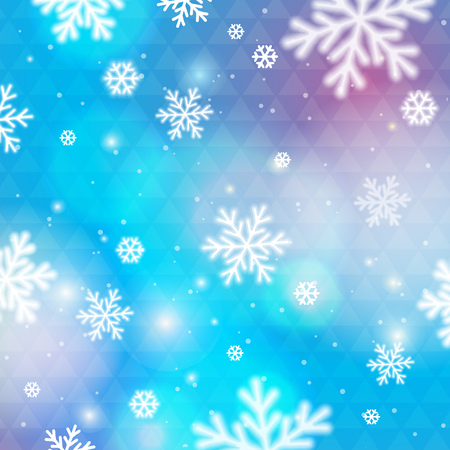 Blue background with bokeh and blurred snowflakes, vector illustration Illustration