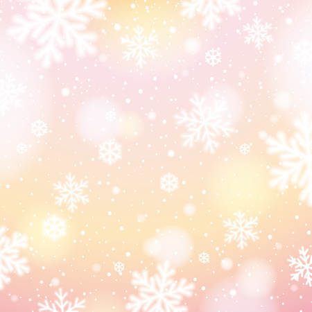 lustre: Light background with bokeh and blurred snowflakes, vector illustration