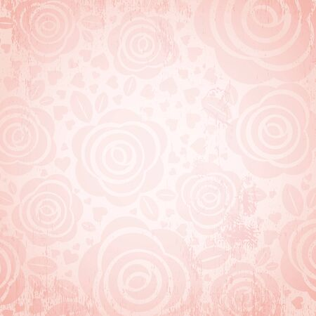 flower designs: pink background with rose and heart,  vector illustration