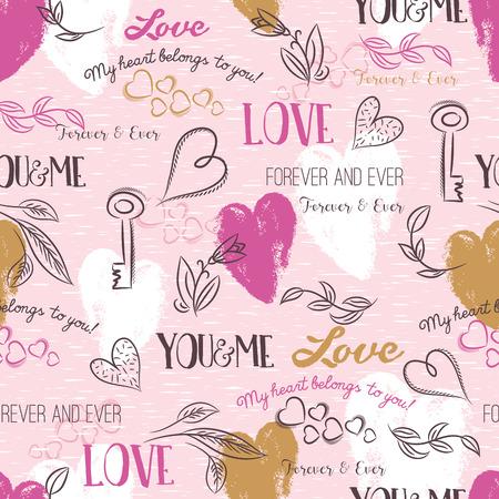 patrones de flores: fondo de color rosa con corazón de San Valentín, flor, desea texto, ilustración vectorial Vectores