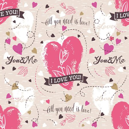 red flower: Background with  red valentine heart , flower, wishes text,  vector illustration