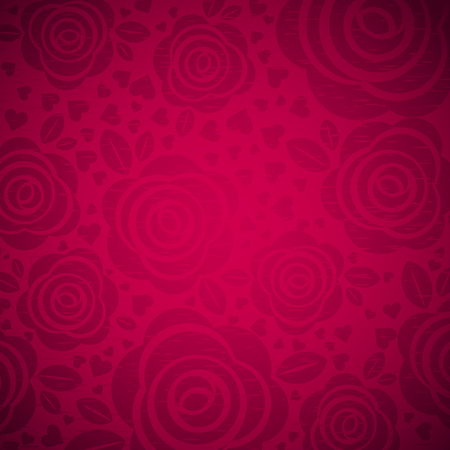 red rose: pink background with rose and heart,  vector illustration