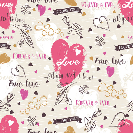flower heart: Background with  red valentine heart , flower, wishes text,  vector illustration