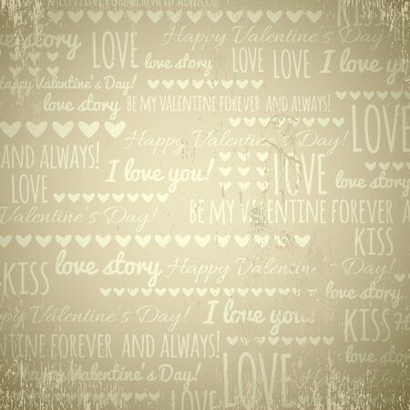scrap gold: beige background with  valentine hearts and text,  vector illustration