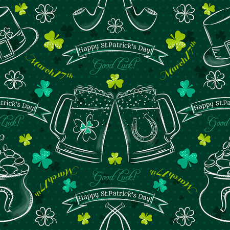 17th of march: Green  seamless background for Patricks day with simbol and shamrocks, vector illustration Illustration