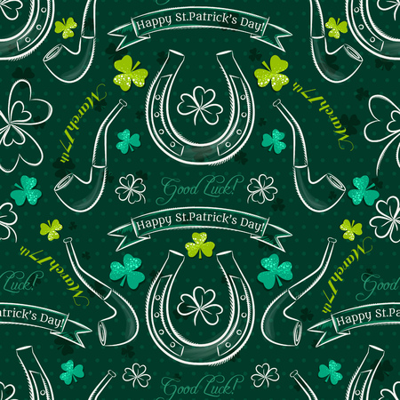17th: Green  seamless background for Patricks day with simbol and shamrocks, vector illustration Illustration