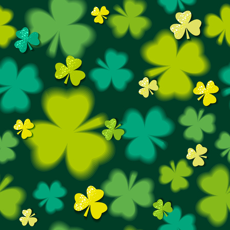 17th: Green  seamless background for Patricks day with shamrock, vector illustration