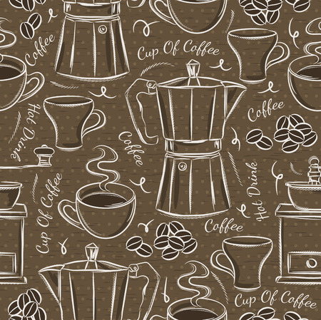 scrap booking: Brown seamless patterns with coffee set. Ideal for printing onto fabric and paper or scrap booking.