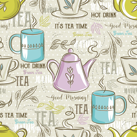 scrap booking: Beige seamless patterns with tea set, leafs, flower and text. Ideal for printing onto fabric and paper or scrap booking.