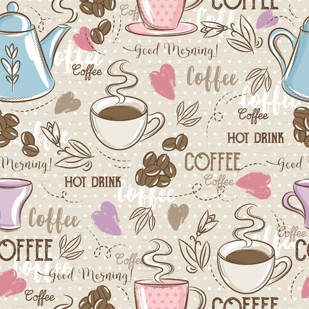 scrap booking: Beige seamless patterns with coffee set, heart, flower and text. Ideal for printing onto fabric and paper or scrap booking.