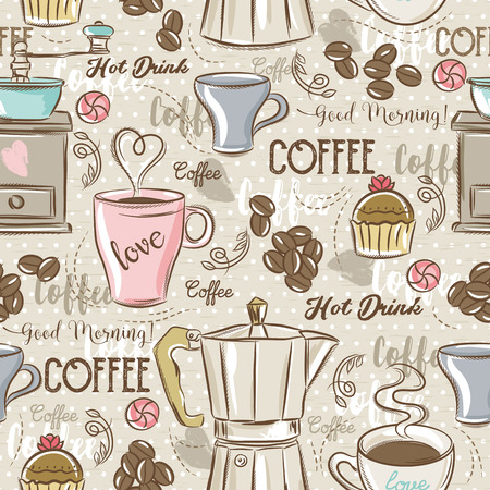 scrap: Beige seamless patterns with coffee set, coffee maker, mouffin,cup, flower and text. Ideal for printing onto fabric and paper or scrap booking.