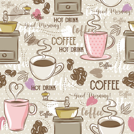 Beige seamless patterns with coffee set,cup, heart, coffee mill and text. Ideal for printing onto fabric and paper or scrap booking.