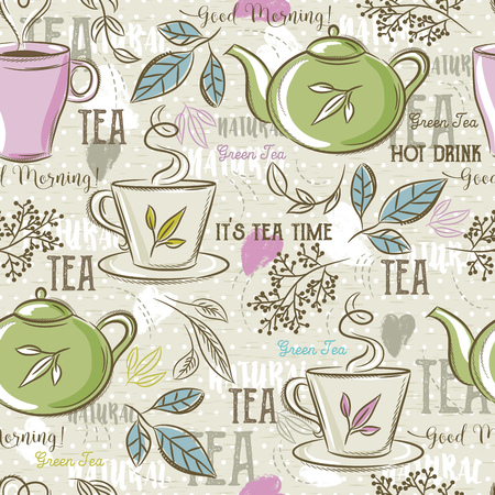 Beige seamless patterns with tea set, leafs, cup,kettle, flower and text. Ideal for printing onto fabric and paper or scrap booking.