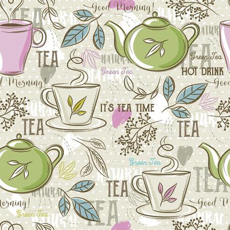 les modèles sans couture beige avec ensemble de thé, feuilles, tasse, bouilloire, fleur et texte. Idéal pour l'impression sur tissu et papier ou réservation de chute. Vecteurs