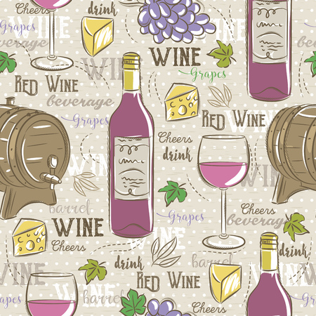 scrap booking: Beige seamless patterns with red wine set, cask, glass, grapes, chees and text. Ideal for printing onto fabric and paper or scrap booking.