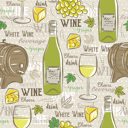 scrap booking: Beige seamless patterns with white wine set, cask, glass, grapes, chees and text. Ideal for printing onto fabric and paper or scrap booking.