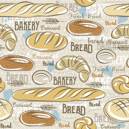 scrap booking: Background with different breads, croissant,  wheat  and text. Ideal for printing onto fabric and paper or scrap booking.