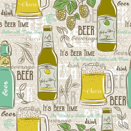 scrap booking: Beige seamless patterns with set of beer bottle, mug, hop and text. Ideal for printing onto fabric and paper or scrap booking.