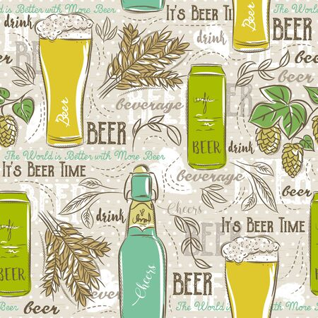 barley hop: Beige seamless patterns with set of beer bottle, mug, hop, barley and text. Ideal for printing onto fabric and paper or scrap booking. Illustration