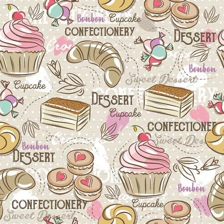 cake background: Background with cupcake, croissan, cake and bonbon. Ideal for printing onto fabric and paper or scrap booking.