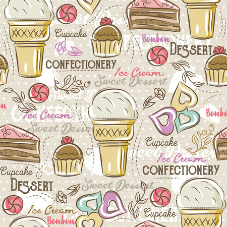 scrap booking: Background with cupcake, ice cream, cake and cookie, vector Ideal for printing onto fabric and paper or scrap booking. Illustration