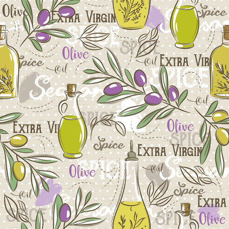 olive oil bottle: Background with olive, bottle oil, leafs and spice. Ideal for printing onto fabric and paper or scrap booking.