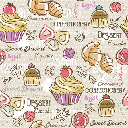 scrap booking: Seamless Patterns with different sweetmeats Background with cupcake, croissan, cake and bonbon. Ideal for printing onto fabric and paper or scrap booking. Illustration